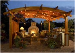 pergola with string lights
