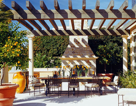 pergola with fireeplace