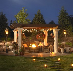 night time romantic pergola