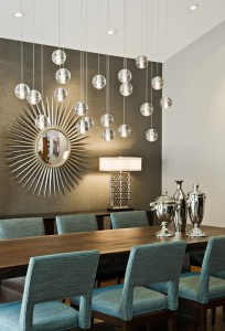 starburst-mirror-Dining-Room-Midcentury-with-console-table-dining-table-gray-accent-wall